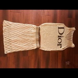 Knit gold set skirt and top